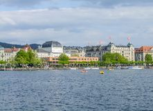Zurich in Switzerland. Riparian scenery of Zurich, the largest city in Switzerland stock photography