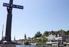 Zurich Switzerland Rudolf Brun Bridge Royalty Free Stock Images
