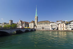 Zurich, Switzerland. Scene in Zurich, Switzerland with the old city reflecting in the waters of Limmat river Stock Images