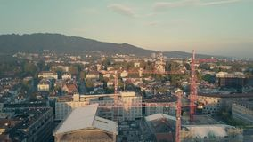 ZURICH, SWITZERLAND - SEPTEMBER 21, 2018. Aerial view of a construction site and cityscape stock photography