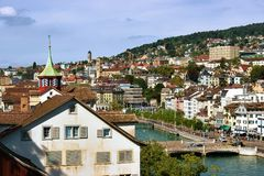 Panoramic view Roofs Zurich city center. Zurich, Switzerland - September 2, 2016: Panoramic view on Roofs in Zurich city center, Switzerland. Seen from Lindenhof stock photos