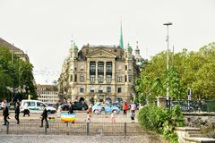 Soap bubbles and children amused at Uraniastrasse in Zurich. Zurich, Switzerland - September 2, 2016: Soap bubbles and children amused at Uraniastrasse in Zurich royalty free stock images