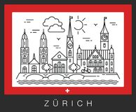 Zurich, Switzerland. View of the city attractions vector illustration
