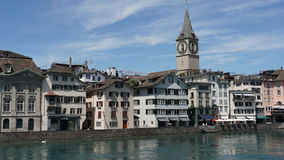 ZURICH, SWITZERLAND : View of historic Zurich city center, Limmat river and Zurich lake, Switzerland. Zurich is a leading global c Royalty Free Stock Photo