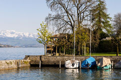 Zurich, Switzerland: View of the lake shore Royalty Free Stock Images