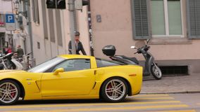 The yellow sports car stock video footage
