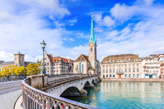 Zurich, Switzerland. View of the historic city center with famous Fraumunster Church, on the Limmat river Stock Image