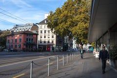 25/08/2018 - Zurich, Swtizerland Vue de route centrale de Zurich photographie stock