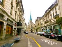 Zurich Szwajcaria, Maj, - 02, 2017: Centrum miasta Zurich, Szwajcaria Ludzie na tle Fotografia Stock
