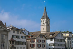 Zurich with the tower of St. Peter Stock Photo