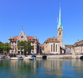 Zurich Townhouse and Lady Minster Stock Photos
