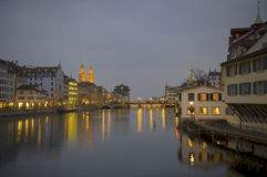 Zurich at twilight Royalty Free Stock Photography