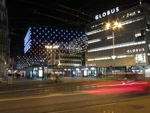 Zurich vid natt i jultid Royaltyfri Bild