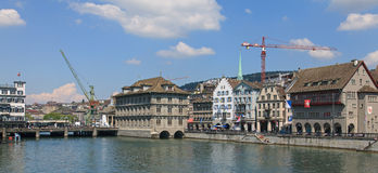 Zurich - view across the Limmat river with the dockside crane Stock Photography