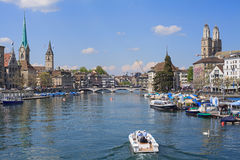 Zurich, view along the Limmat river Royalty Free Stock Images