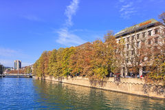 Zurich, view along the Limmat river Royalty Free Stock Image