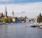 Zurich, view along the Limmat river Stock Photos