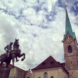 Zurich. View of Zurich architecture and statue Royalty Free Stock Photos