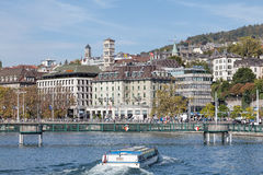 Zurich, view on Central square across the Limmat river Royalty Free Stock Photo
