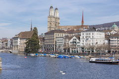 Zurich, view on the Limmat river Stock Photo