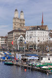 Zurich, view on the Limmatquai quay Royalty Free Stock Photo
