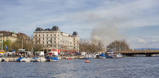 Zurich, view towards the Bellevue across the  Limmat river Royalty Free Stock Images