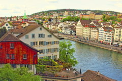 Zurich viewpoint Switzerland. Limmat river and  riverside buildings of Zürich Altstadt -Old town. Zurich is the largest city in Switzerland and the capital of Stock Photos