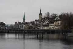Zurich w popielatym colour, Switzetland, Podróżuje w Europa obraz stock