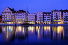 Zurich Waterfront At Night, Switzerland Royalty Free Stock Images