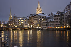 Zurich waterfront in winter time Royalty Free Stock Photos