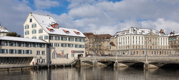 Zurich winter cityscape Royalty Free Stock Image
