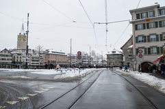 Zurich in winter Stock Photo