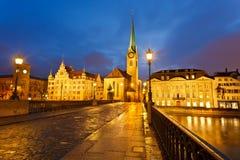 Zurique na noite Fotos de Stock Royalty Free