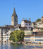 Zurique, o St Peter Church fotos de stock royalty free
