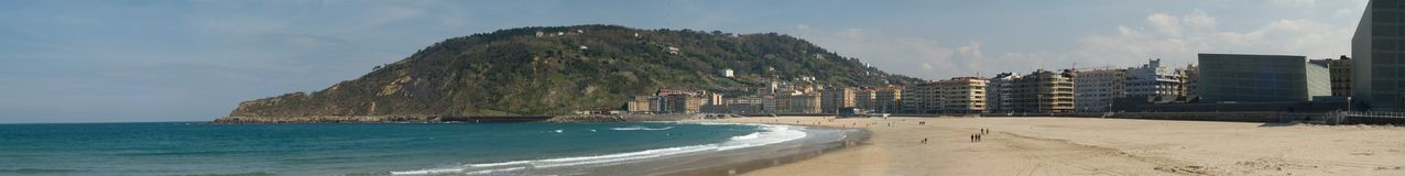 Zurriola beach in San Sebastian. Panorama of zurriola beach in San Sebastian, one of nicest beach in the north of spain, basque country Stock Image