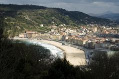 Zurriola beach in San Sebastian Stock Photos