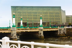 Zurriola  bridge over Urumea river and Kursaal  Congress Centre Royalty Free Stock Photography