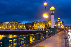 Zurriola  bridge over Urumea river in  night. Donostia Royalty Free Stock Photography