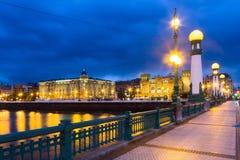 Zurriola  bridge over Urumea river in  night. Sant Sebastian Royalty Free Stock Photo