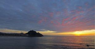 zurriola för stranddonostia solnedgång Royaltyfri Bild