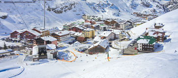 Zurs hamlet and Lech - Zurs ski resort in Austria. Bird's eye view of the hamlet of Zurs and the Lech - Zurs ski resort in Arlberg, Tyrol, Austria, from the Stock Photography
