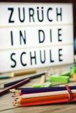 Zuruck sterben herein schule, zurück zu Schule auf Deutsch Lizenzfreie Stockfotografie