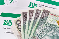 ZUS. Polish national insurance contribution. Documents and banknotes 100 zloty Stock Images