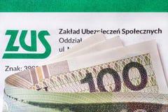 ZUS Polskt bidrag för nationell försäkring Royaltyfria Bilder