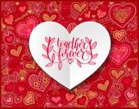 Zusammen übergeben Sie für immer den Brief Liebe und Freundschaft quot geschrieben stock abbildung