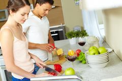 Zusammen kochen lizenzfreies stockfoto