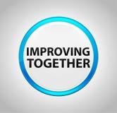 Zusammen verbessern ringsum blauen Druckknopf lizenzfreie abbildung