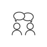 Zusammenarbeit, Gesprächslinie Ikone, Entwurfsvektorzeichen, lineares Artpiktogramm lokalisiert auf Weiß lizenzfreie abbildung