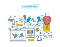 Zusammenarbeit, Gruppenzusammenarbeit, Partnerschaften, Teamwork, Marketing, Geschäftsvereinbarung lizenzfreie abbildung