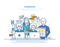 Zusammenarbeit, Partnerschaften, Teamwork mit den Kollegen, Interaktion unter selbst, coworking, Zusammenarbeit stock abbildung